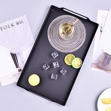 长方形铁艺茶托盘水果点心盘北欧酒店创意酒水托盘黑色提手餐盘