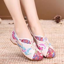 Sản phẩm mới mùa xuân phượng hoàng thiết lập chiều cao chân với giày thêu thoải mái kiểu Bắc Kinh gân bò dưới giày đơn nữ Giày nữ