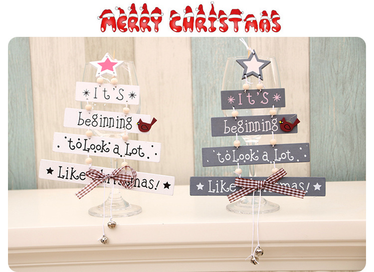 New Christmas wooden Christmas tree Christmas door hanging decoration wind chime letter card pendant Christmas bell hanging NHMV176273