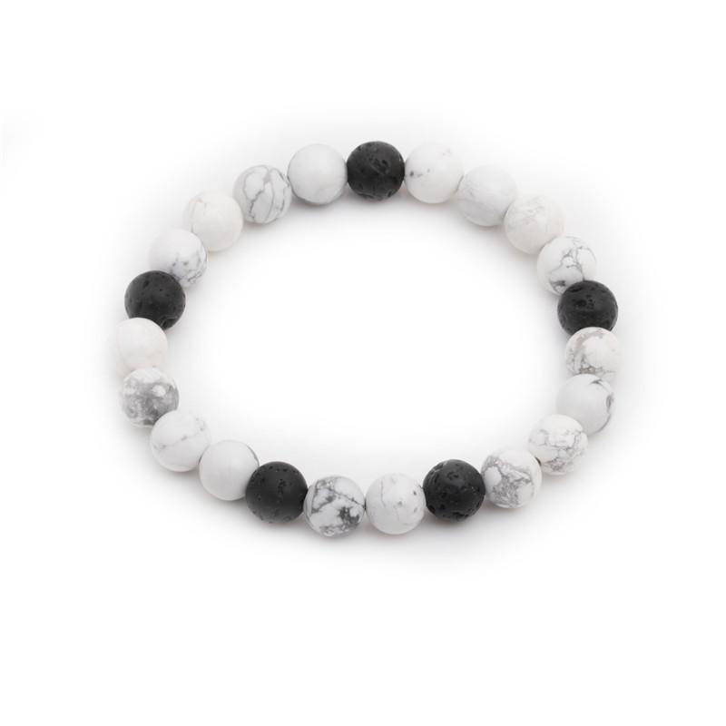 Fashion white turquoise volcanic stone beaded bracelet NHYL152733