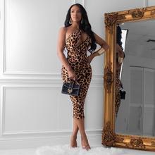 R6231 亞馬遜平臺豹紋印花長袖不規則性感無袖連衣裙歐美女裝