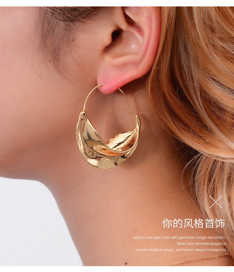 New fashion irregular earrings metal flower basket exaggerated earrings for women wholesale NHMO207796