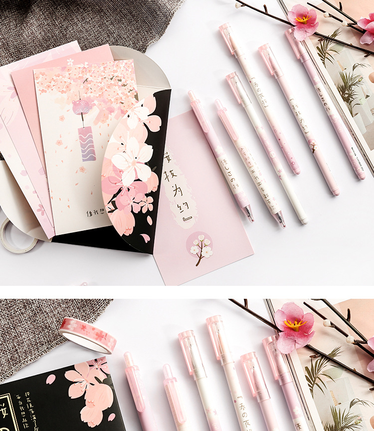 Creative cherry 6 boxed gel pen black signature pen pink press set pen stationery NHHE172531
