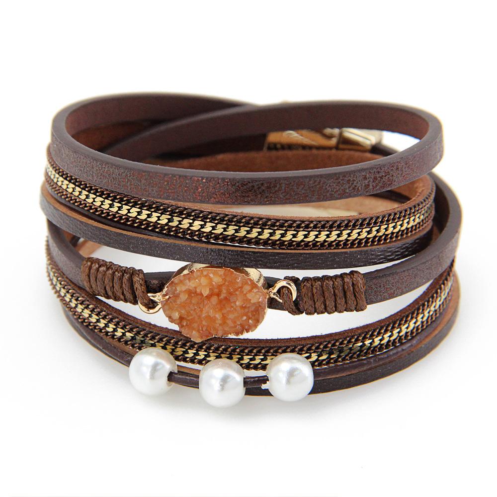 欧美新款椭圆碎石手链女士 欧美时尚磁性扣头多层手链 工厂直供