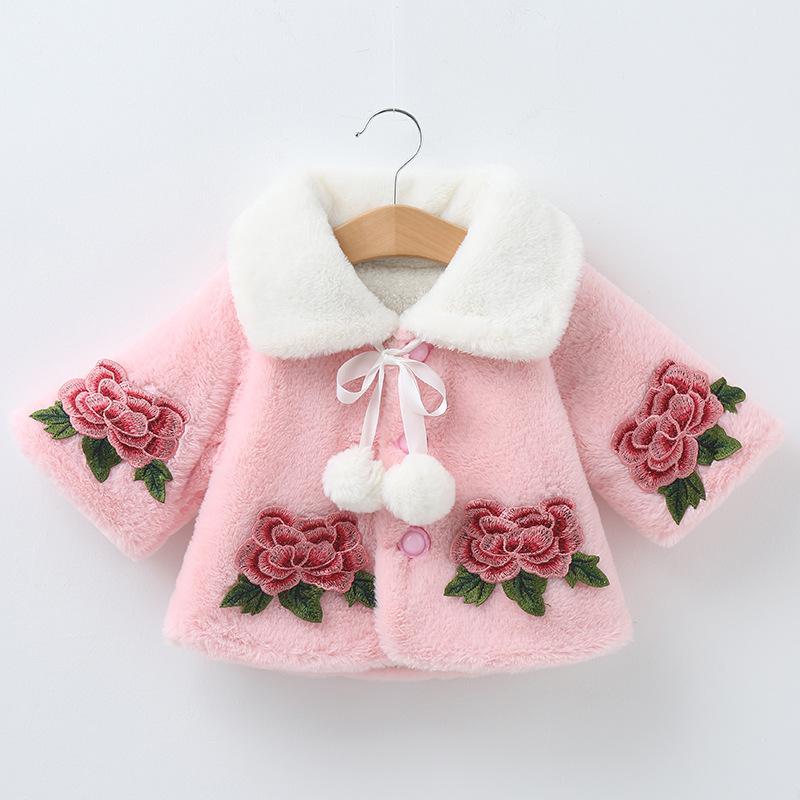 儿童秋冬毛披肩女童公主礼服复古玫瑰花配饰花童坎肩小孩披风斗篷
