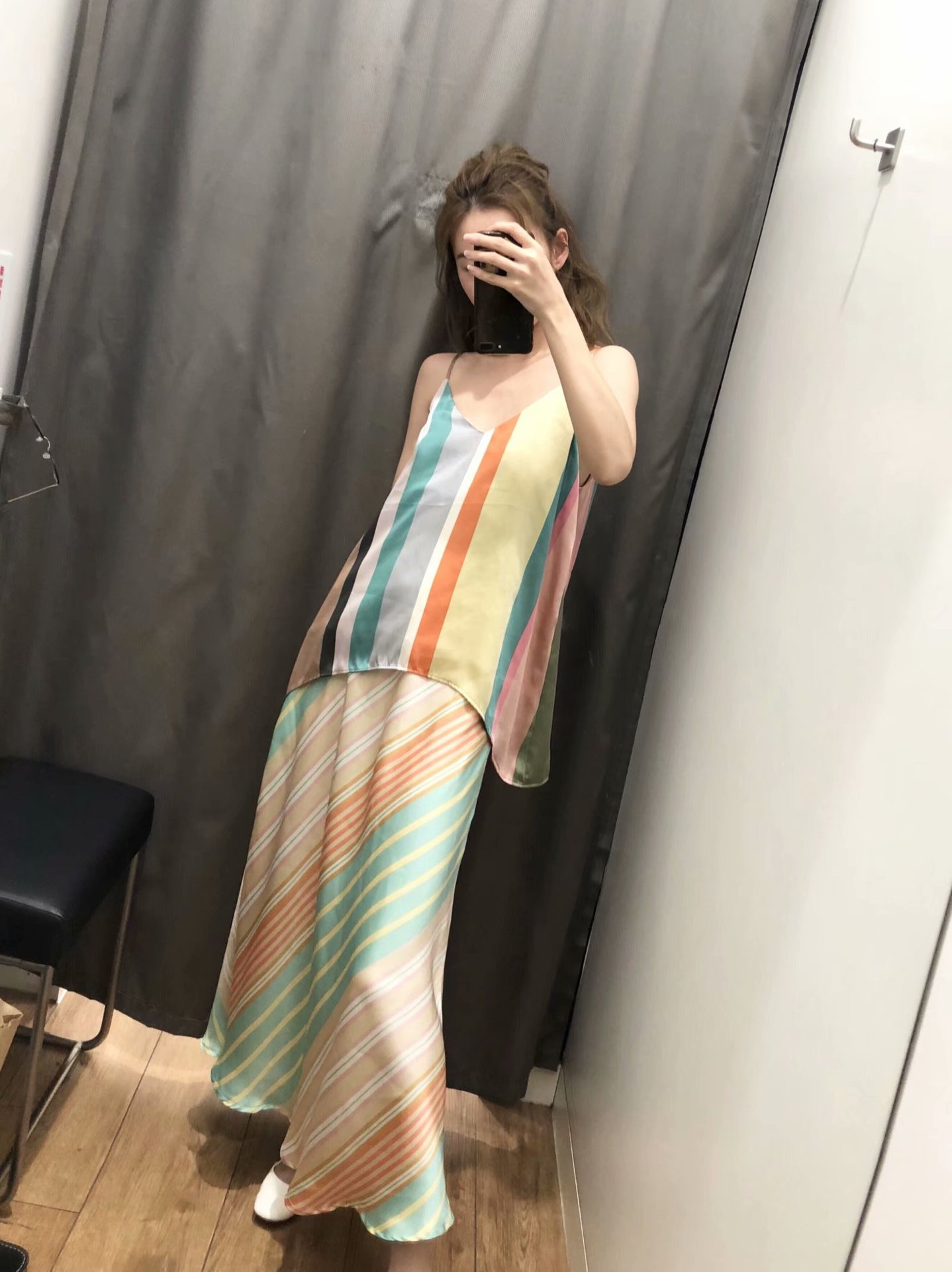 Wholesale Fashion  2019 summer silk satin texture striped skirt skirt NHAM177755