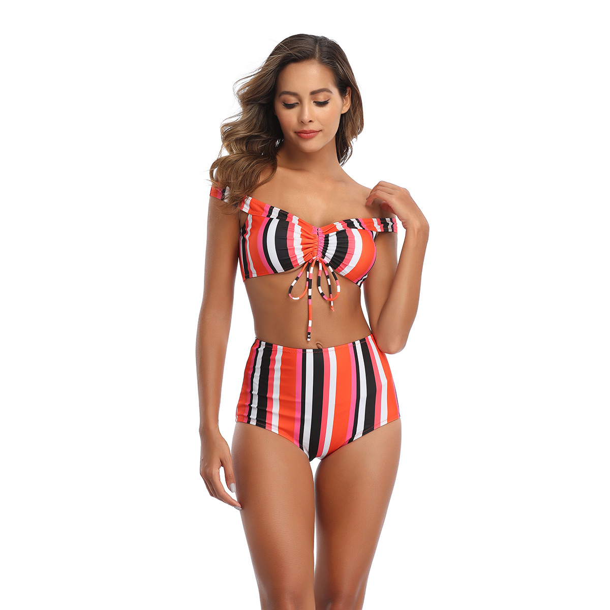 New Sexy Women's Swimsuit Tie Ruffled Shoulder Vertical Striped Printed Swimsuit NHHL198857