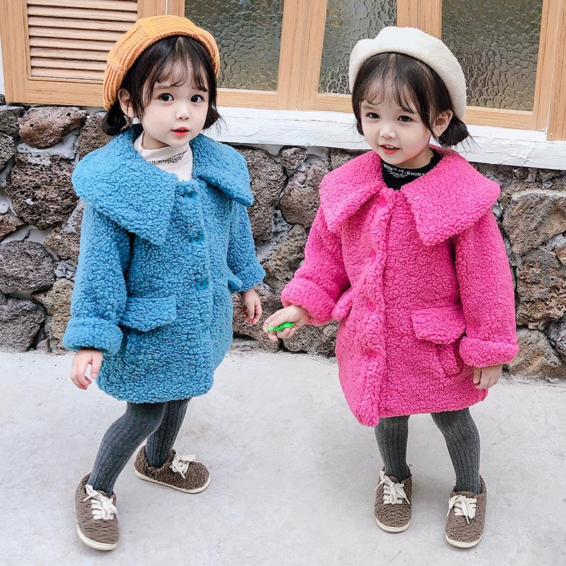 童装开衫毛毛外套2019年冬季新品儿童外套女小童宝宝加厚大领外套