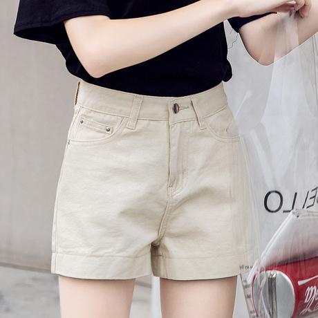 여름 한국판 데님 반바지 여자 하이웨스트 학생 핫팬츠 칙살구로 코디하여 날씬해 보이는 A라인 와이드 팬츠