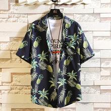 跨境外贸海南岛服沙滩短袖衬衫休闲上衣椰树花印花度假花衬衫衬衣