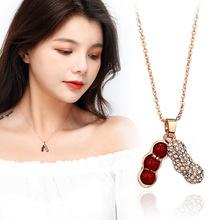日韩版百搭时尚气质新款小花生红色珍珠项链女生项饰微镶钻锁骨链