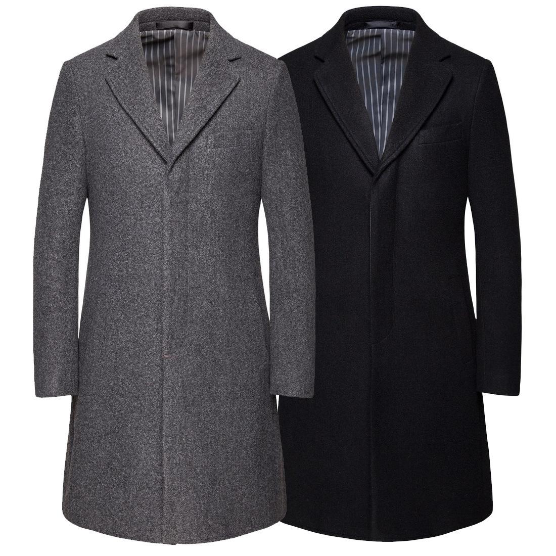Autumn and winter new men's medium long solid woolen coat large concealed door forbidden woolen coat casual European coat