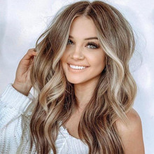 跨境热销假发女染色中分长卷发棕色挑染渐变微卷长发厂家直销代发