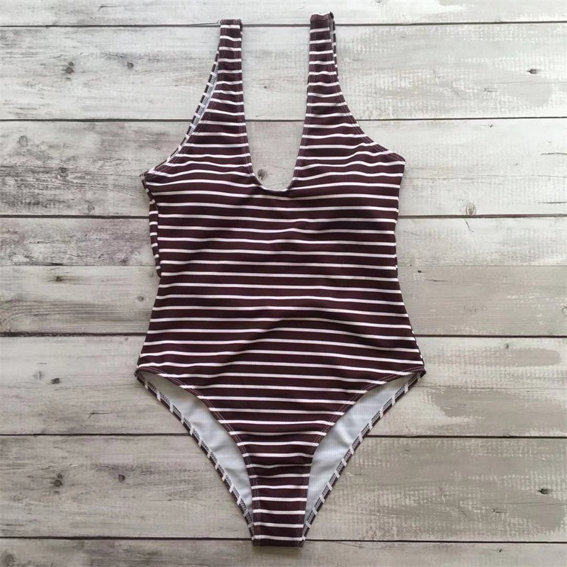 Fashion striped one-piece swimsuit NHHL145508
