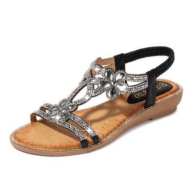 Women shoes I-type Diamond Flower sandals large size women sandals travel wedge heels shoes