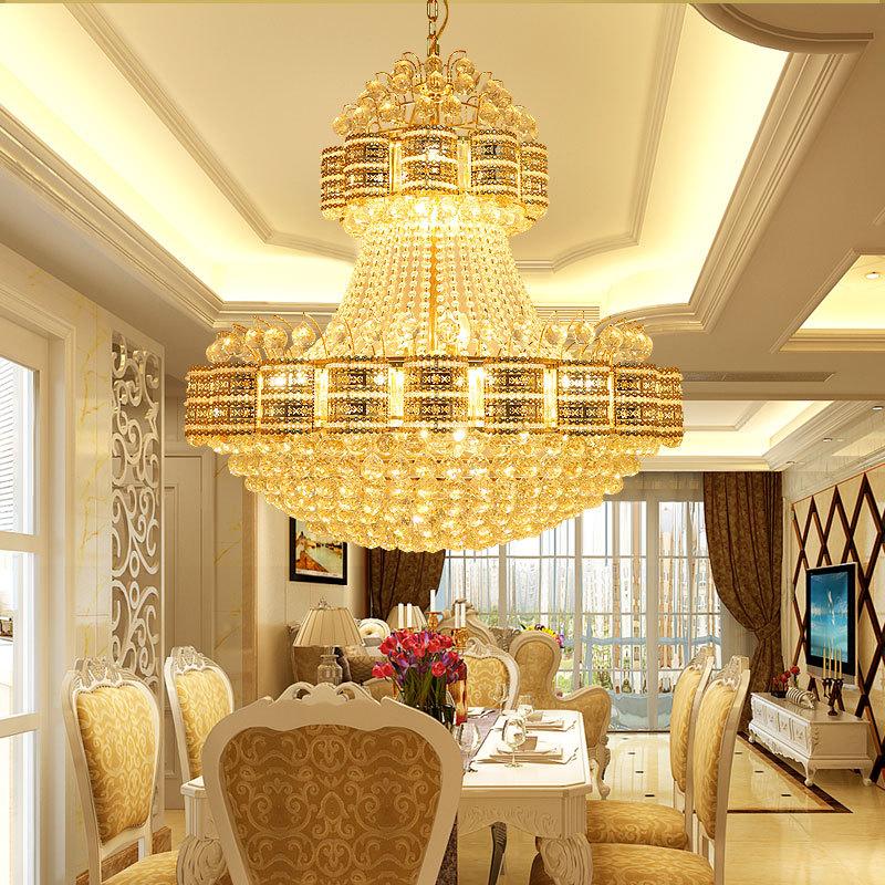 复式楼客厅水晶大吊灯欧式水晶灯酒店别墅工程水晶吊灯灯具