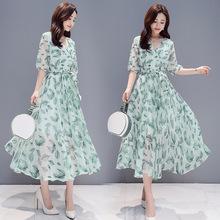 度假裙子夏季2019新款女裝修身V領五分袖雪紡印花氣質連衣裙女仙