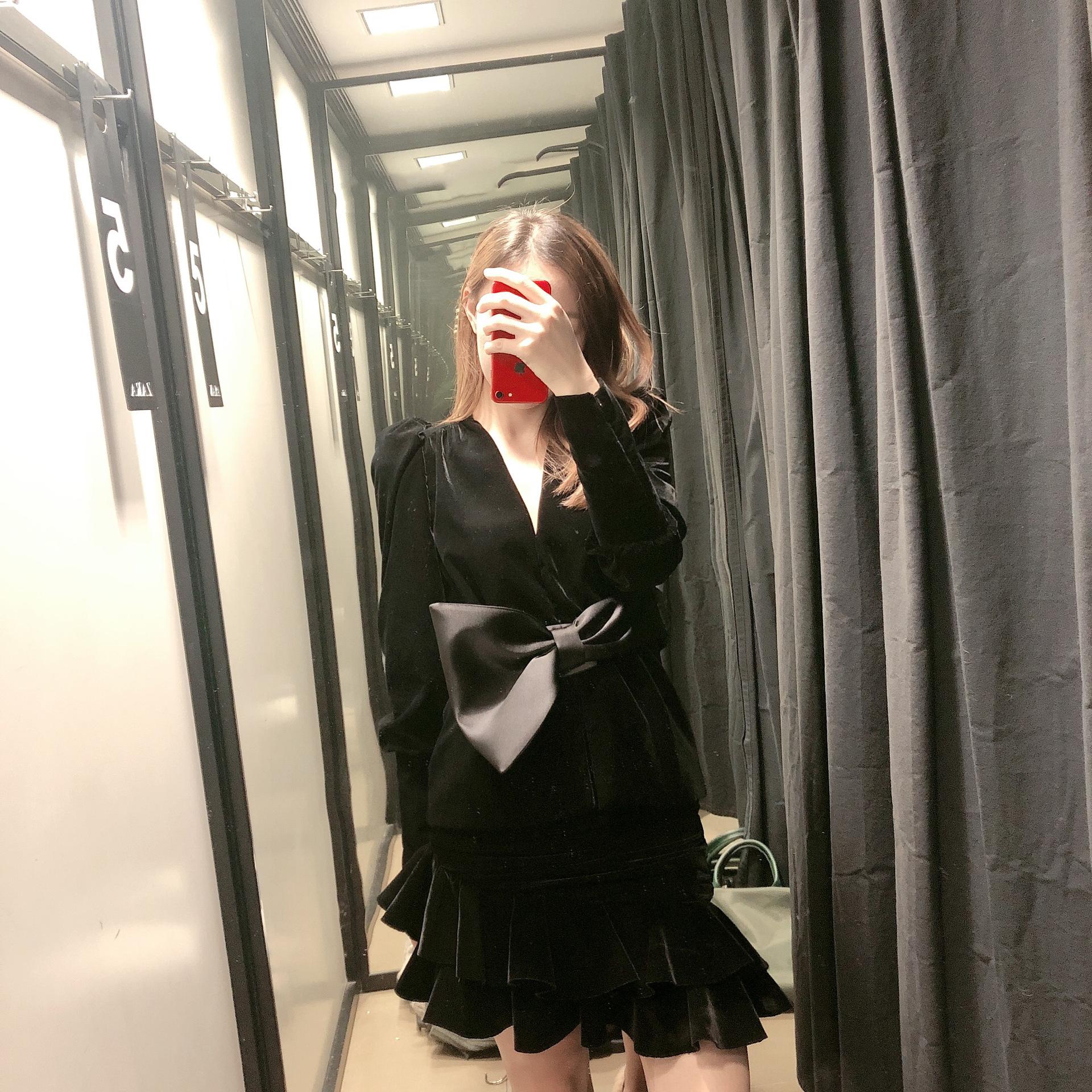 V-neck loose bow with velvet jacket NHAM175658