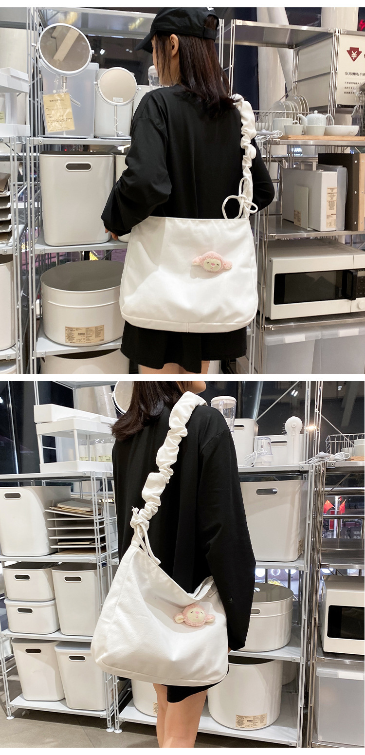 Cute little sheep hanging canvas bag student shoulder bag NHHX170576
