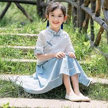 女童套装2019新款夏装儿童中大童韩版时尚素色汉服小女孩裙两件套