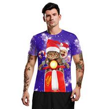 圣诞节可爱猫咪3d印花服装t恤 跨境欧美男青年大码圆领短袖打底衫
