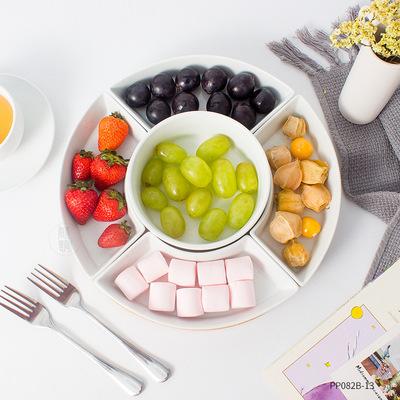 创意纯白陶瓷多格水果五格盘点心盘分格盘五果盘中式陶瓷拼盘餐具