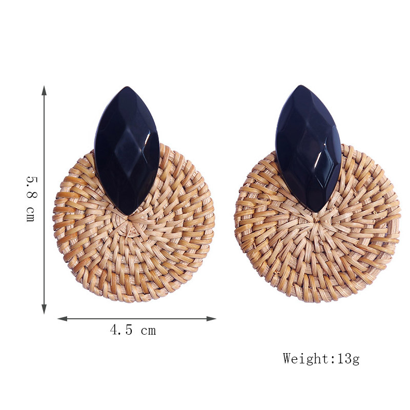 Geometric exaggerated resin rattan earrings for women round retro earrings jewelry NHLA204617