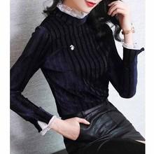 金絲絨上衣女士長袖秋冬2019新款時尚立領氣質蕾絲洋氣內搭打底衫