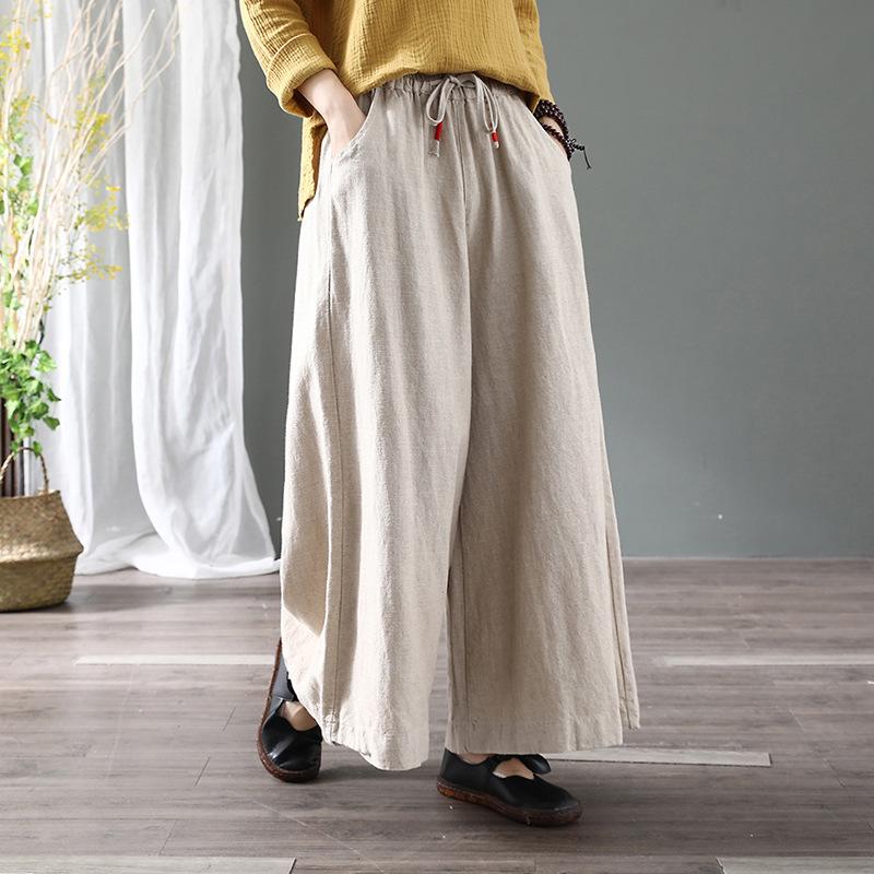 古咖服饰文艺棉麻复古阔腿裤女式大版纯色春季长裤宽松系带大脚裤
