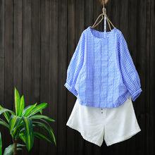 夏季新款文藝棉麻格子中袖上衣寬松大碼蝙蝠袖套頭T恤衫女裝