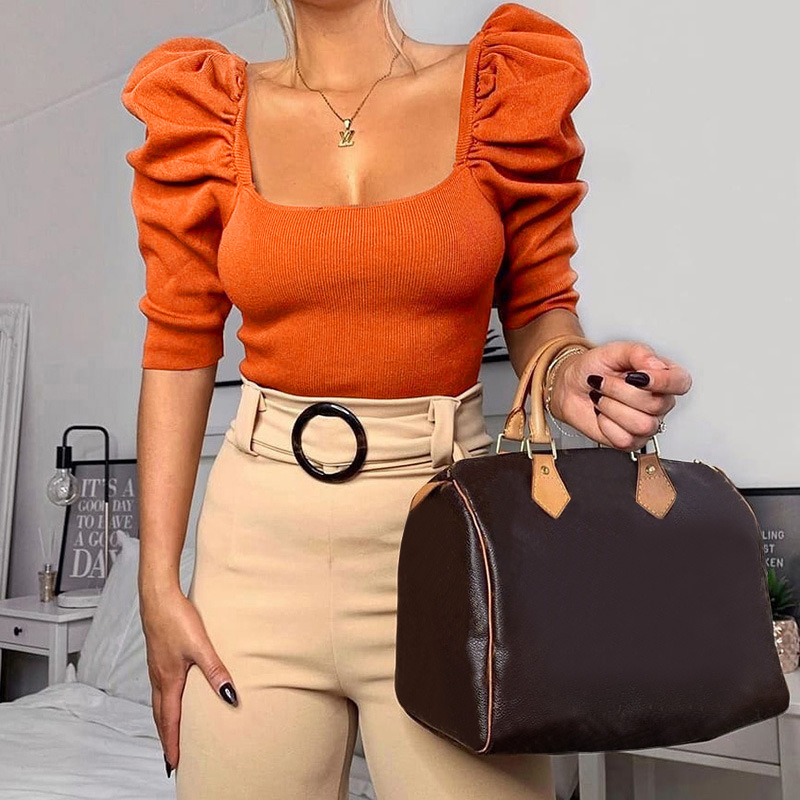 bubble sleeve square neck cropped top NSSU35428