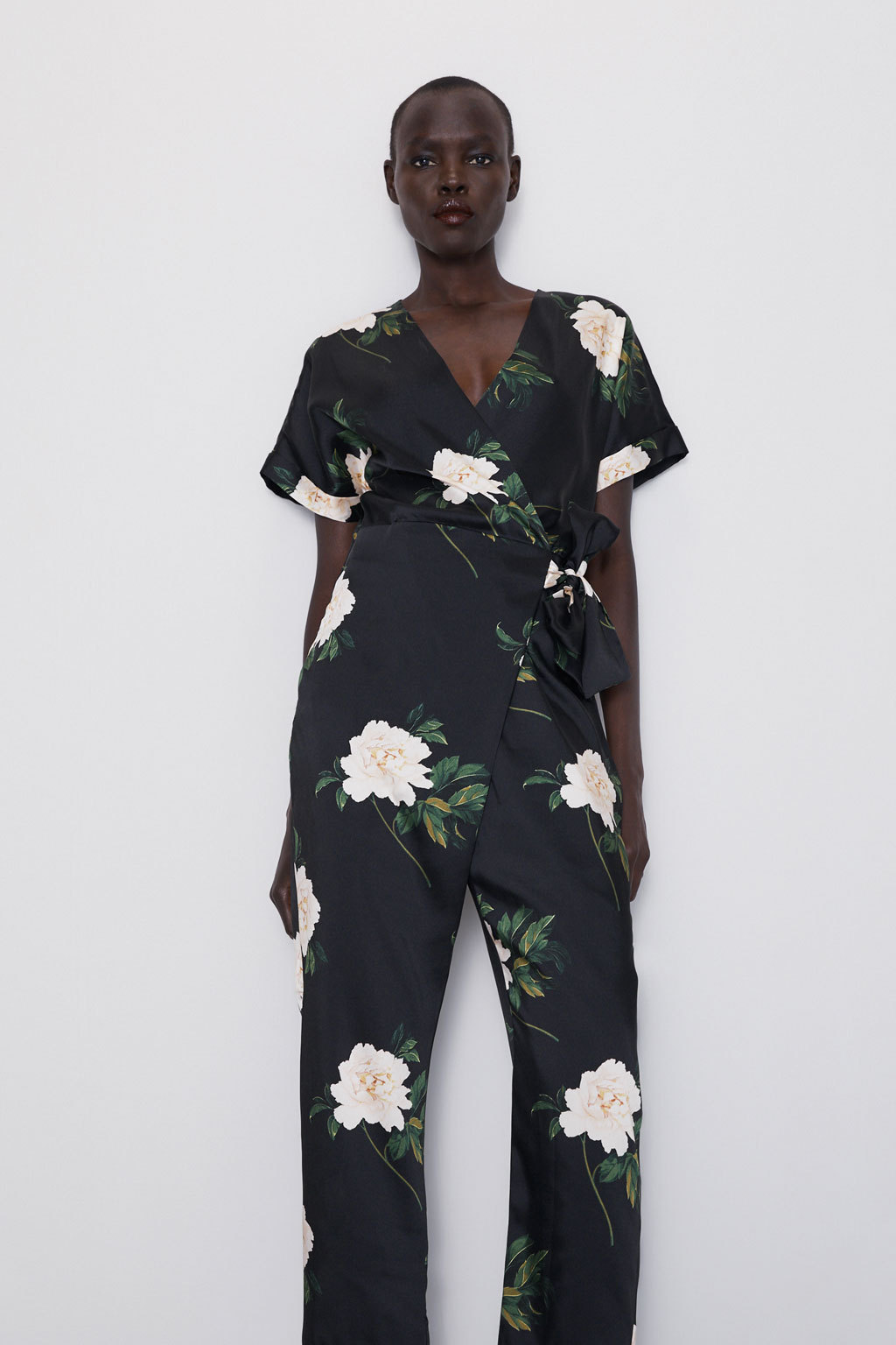 Wholesale New Women's V-neck Lace Up Flower Print Double Breasted Jumpsuit NHAM184162