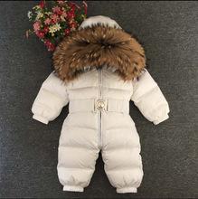 2019新款冬季童装貉子毛男童女童宝宝儿童婴儿加厚连体哈衣羽绒服