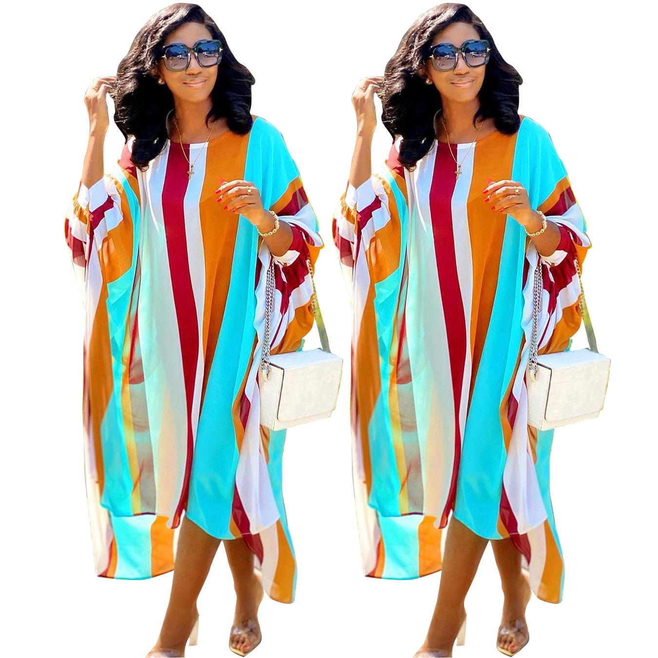 European and American Women's Fashion Casual Elegant Loose Striped Printed Dress