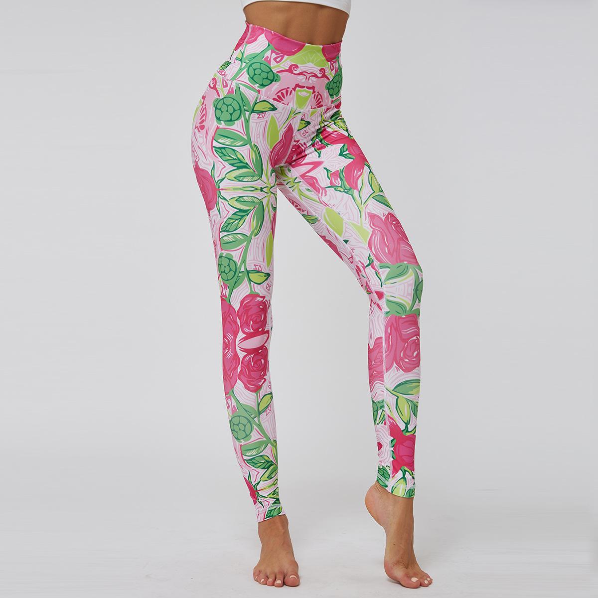 Fashion high waist sports yoga pants printed slim breathable leggings NHMA155846