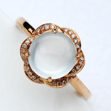 冰種起熒光天然A貨翡翠戒指 18K金帶鉆鑲嵌女戒圓戒 戒面X174