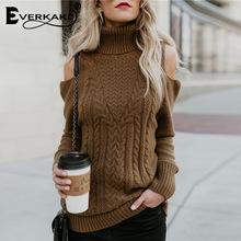 亚马逊品质跨境欧美秋冬新品纯色露肩高领修身针织毛衣女PA8C363A