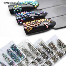 跨境专供美甲饰品平底玻璃水钻大小混装ss3AB钻袋装6格美甲钻饰