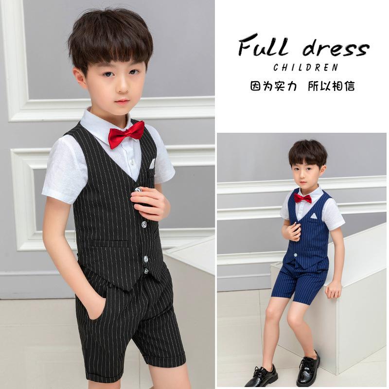 新款男童夏季礼服套装英伦风儿童西装马甲两件套婚礼花童服演讲服