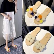 毛毛球拖鞋女2020秋季新款韓版時尚紅百搭低跟外穿chic一字涼拖鞋