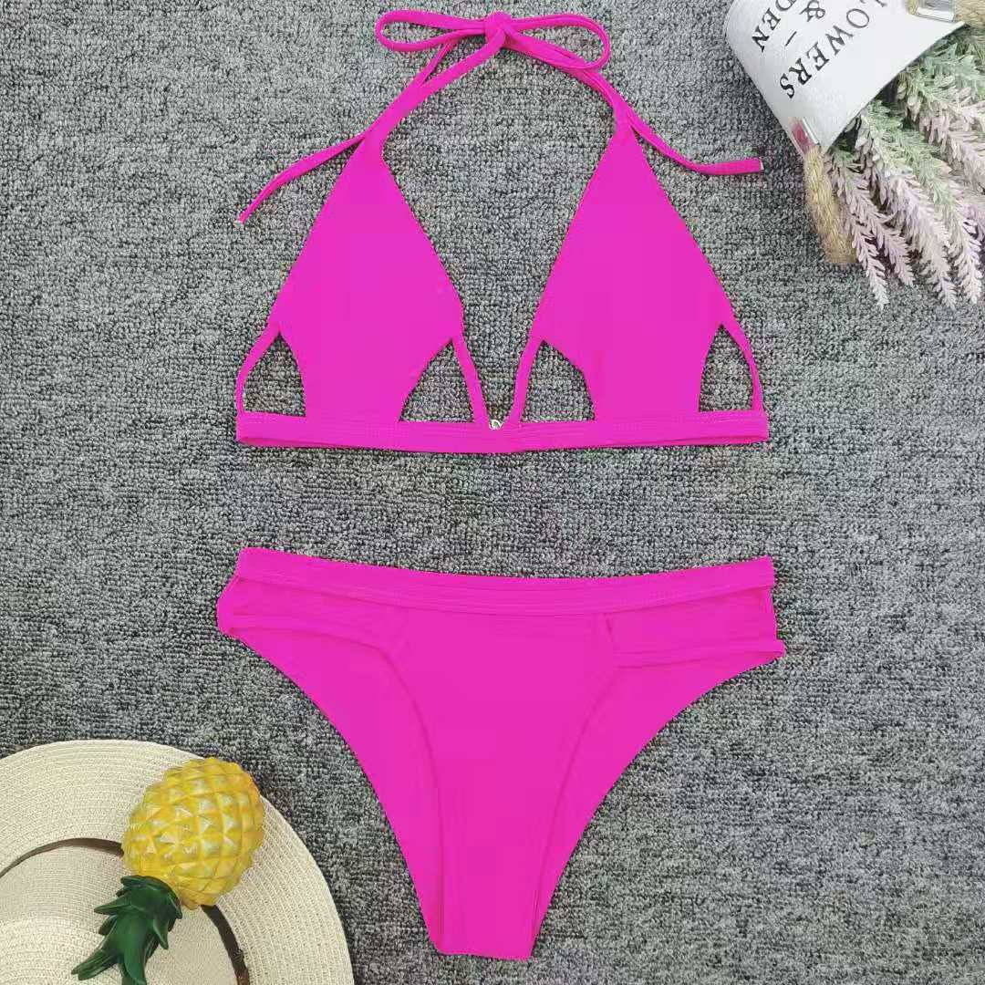 New solid color hollow rose red bikini NHNM147660