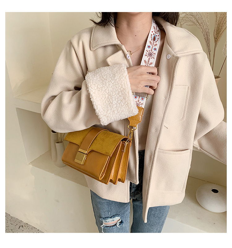 Autumn and winter ocean air wideband frosted small square bag NHTC156317