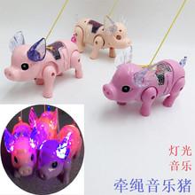 帽子款牵绳猪新款电动牵绳小猪电动猪电动发光音乐牵绳猪发光玩具