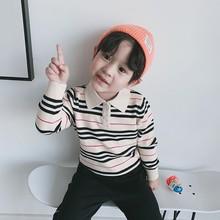 兒童毛衣加工定制2019秋冬新款男童寶寶復古條紋翻領針織POLO衫