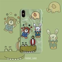 适用?#36824;鹸手机壳8plus/7p/6S /XR/iPhoneX女折纸纹趣味动物马戏团