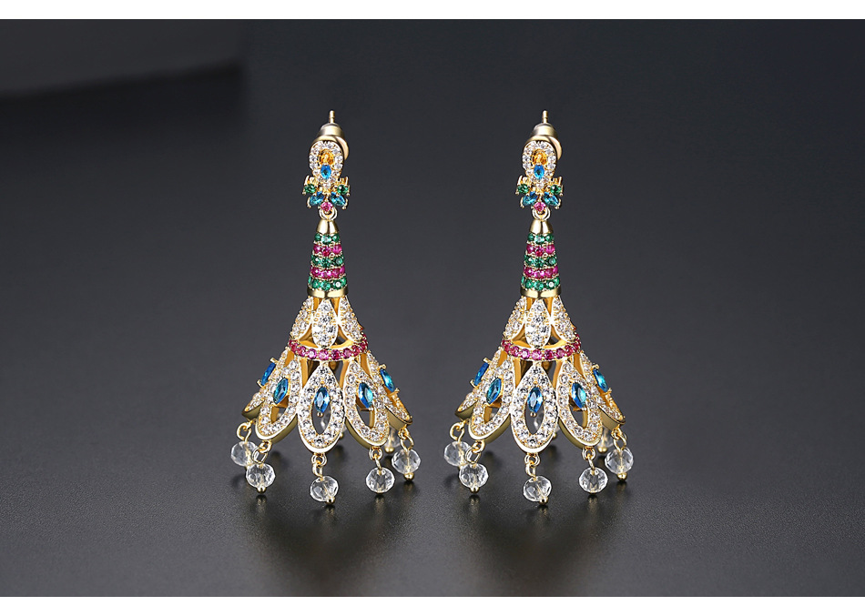 Retro creative new brass zirconium ladies earrings peacock feather tassel earrings NHTM199584