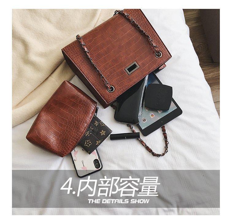 Fashion chain wild single shoulder stone small square bag NHPB148613