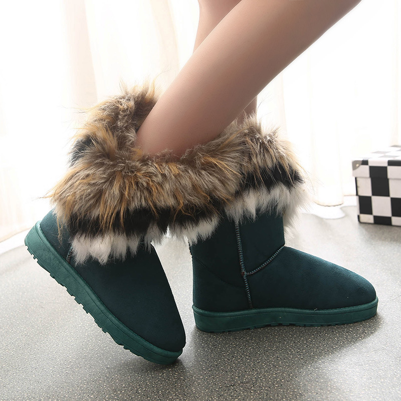 Winter new style foreign trade popular large size snow boots women's flat bottomed round head anti slip and thermal short tube wool overshoot boots