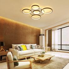 圆形几何吸顶灯 创意个性咖啡色卧室客厅led吸顶 简约现代吸顶灯
