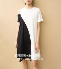 19年夏欧美大牌同款黑白拼接露肩连衣裙自留简约短袖圆领全棉中裙